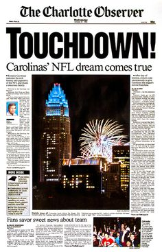 The skyline of Charlotte seems to celebrate charlotte's pick for an NFL expansion team (Carolina Panthers) in 1993.
