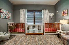 amazing furniture arrangement for triplets - Found on Zillow Digs Triplets Nursery, Baby Boy Nurseries, Baby Rooms, Nursery Themes, Nursery Room, Triplet Babies, Modern Kids Bedroom, Nursery Design, Furniture Arrangement