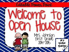 FREE! Open House Power Point editable FREEBIE from JD's Rockin' Readers on TeachersNotebook.com -  (8 pages)  - This is an editable Power Point slide show that can be used for Open House or Meet the Teacher Night.