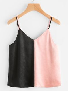 SheIn offers Double Strap Contrast Satin Cami Top & more to fit your fashionable needs. Cute Casual Outfits, Simple Outfits, Stylish Outfits, Summer Outfits, Girl Outfits, Diy Fashion, Fashion Outfits, Fashion Design, Girls Fashion Clothes