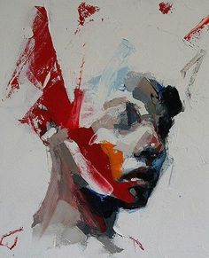 WHO: Ryan Hewett WHY: red adds warmth to neutral colours, block colours, angular brush strokes Abstract Portrait, Portrait Art, Portraits, Figure Painting, Painting & Drawing, Trash Polka, African Artists, Figurative Art, Painting Inspiration