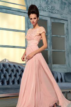 2013 Modest Prom Dresses A Line Scoop Chiffon Floor Length