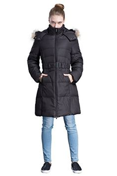 ADOMI Women's Belted Long Down Coat with Faux-Fur-Trimmed Hood ** Want additional info? Click on the image.
