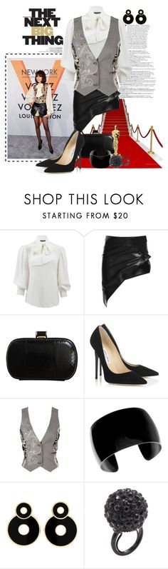 """Zendaya Award Winning Style"" by msmith801 ❤ liked on Polyvore featuring Louis Vuitton, Alexander McQueen, Anthony Vaccarello, MaxMara, Jimmy Choo, St Martins and Kenneth Jay Lane"