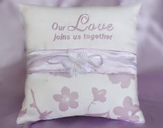 Our Love Joins Us Together Lilac Floral Wedding Ring Pillow by SewDelightfulPillows