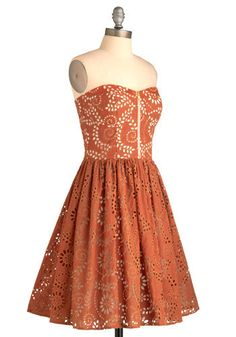 """Burnt orange dress with lacy cutout details. Modcloth has been """"tallying the results"""" forever...we'll see if it gets chosen."""