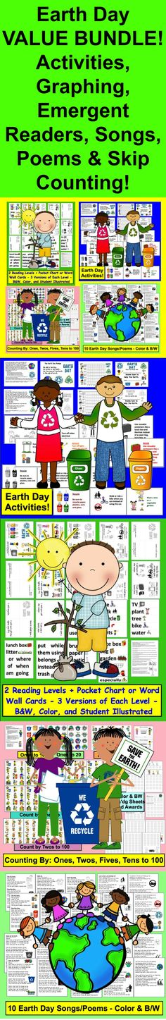 $ Earth Day Bundle VALUE: SAVE $5.00! 1. Earth Day Poems/Songs 2. Earth Day Posters, Graphing, Pledge, Certificate & Parent Letter 3. Earth Day Readers (2 Reading Levels and Vocab Cards for Pocket Chart or Word Wall) 4. Earth Day Skip Counting Math Centers