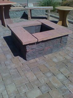 Square Fire Pit Designs | Landscaping Pavers phoenix | Flag stone table | Brick in Phoenix