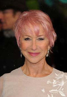 British actress Dame Helen Mirren... known for her impeccable style and ageless glamour. On February 10th she walked the Red Carpet at the 2013 British Academy Film Awards at London's Royal Opera House with a candy-colored pink unstructured bob.