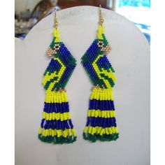 Hand Beaded Beautiful Macaw Parrot Earrings in Blue Green and Yellow... ($25) ❤ liked on Polyvore featuring jewelry, earrings, yellow gold jewelry, gold jewellery, bohemian earrings, gold earrings and long gold earrings