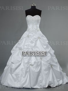 Pick Up Sweetheart Chapel Satin White Wedding Dress price USD $277 - PARISISI ONLINE DISCOUNT SHOP