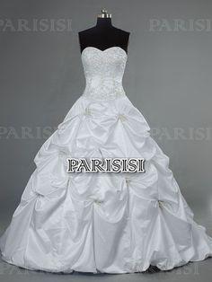 Pick Up Corazón Tren Capilla satén Blanco vestidos de novia