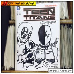 """Hey Mister Wilson! Hahahaha!"" Meet the Wilsons, Wade and Slade together on a Teen Titans cover, by Scott Koblish today at the Comic Bug in Culver City!  This was a pretty chill event, and Scott was a blast to hang out with and talk to as always.  #deadpool #wadewilson #sladewilson #teentitans #blank #blanksketch #blankcover #coversketch #sketch #deathstroke #theterminator #thecomicbug #comicbug #comicbugculvercity #dccomics #marvel #marvelcomics #wilson #scottkoblish #koblish"
