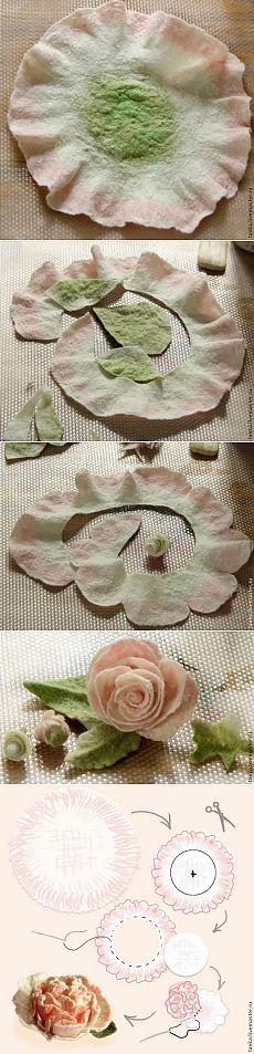 Роза и пион на круглом шаблоне, валяние - Ярмарка Мастеров - ручная работа, handmade