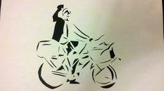stencil bike messenger