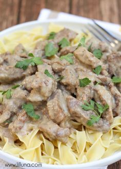 Beef Stroganoff - another great Slow Cooker recipe the family will love. { lilluna.com }