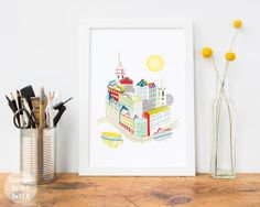 Stockholm art print, Swedish Skyline, Wall Art from Sweden, Paper a4 Print, Cityscape, Illustration, Art For Home, Nursery, Style: STSPPX1