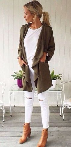 White jeans, white top, green coat