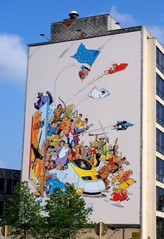 Street art in Brussels by Belgium, street-art pioneering country. Modern Art, Art Wall, Public Art, Wall Art, Murals Street Art, Art, Graffiti Art, Land Art, City Art