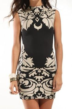 Damask Sheath Dress In Black/crea. would be so cute with bright heels!