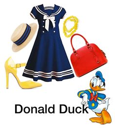 """""""Donald Duck  -disneybound"""" by adisneygirlme ❤ liked on Polyvore featuring Kissima Drammeh, Lanvin and ShoeDazzle"""