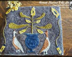 Punch Needle Embroidery PDF Pattern, A Home For Mr. And Mrs. Proctor, Spring, Peacock, Urn.