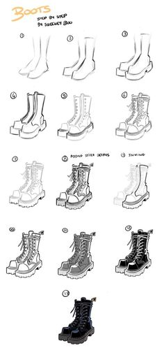 Did a boots drawing step by step 🥾! Let me know if there's other kind of step by step/ tutorials you'd like to see! Did a boots drawing step by step 🥾! Let me know if there's other kind of step by step/ tutorials you'd like to see! Drawing Body Poses, Drawing Reference Poses, Drawing Tips, Drawing Techniques, Drawing Ideas, Pencil Art Drawings, Art Drawings Sketches, Poses References, Fashion Design Drawings