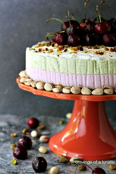Cherry and Pistachio No Bake Cheesecake with Animal Cracker Crust. i'm only pinning this for the animal cracker crust idea, sounds awesome. Best No Bake Cheesecake, Pistachio Cheesecake, Baked Cheesecake Recipe, Sopapilla Cheesecake, Cupcake Recipes, Baking Recipes, Cupcake Cakes, Dessert Recipes, Cupcakes