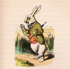 White Rabbit checking watch - Alice's Adventures in Wonderland by Lewis Carroll, illustrated by John Tenniel with illustrations colored by Fritz Kredel (1946 edition)