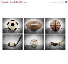 FLASH SALE til MIDNIGHT Vintage Sports Color on Grey Background Set of 6  , Sports Decor, Boys Room Decor