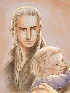Touching art of #Thranduil and baby #Legolas