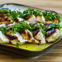 Recipe for Mustard, Lemon, and Coriander Grilled Chicken Breasts with Lemon-Basil Vinaigrette; you can cook this chicken on a stove-top grill pan if you don't have an outdoor grill. [from Kalyn's Kitchen] #Grilling #LowCarb #GlutenFree #CanBePaleo #SBDPh1