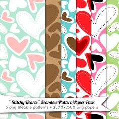 Stitchy Hearts Free Seamless Pattern and Paper Pack  //  fabnfree.com