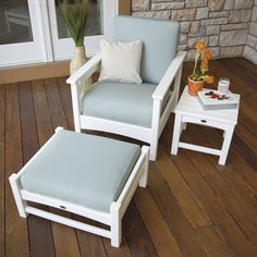 Club Three Piece Deep Seating Set In White/Spa Polywood® Furniture Sets Patio Furniture Se Plastic Lumber, Thing 1, Patio Furniture Sets, Backyard Furniture, Log Furniture, Furniture Layout, Furniture Ideas, Patio Seating, Extra Seating
