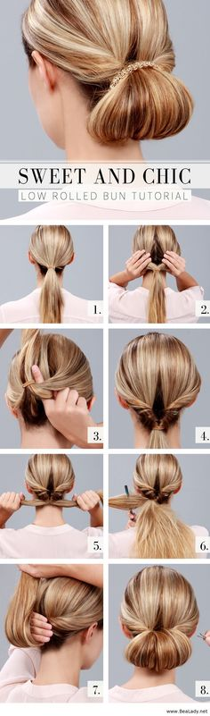 Low rolled bun tutorial - It's like a topsie tail!!! Who remembers that little gadget you got along with the directions?! I'm not crazy!