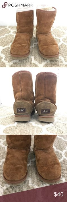 Classic UGG Short Boots in Chestnut Authentic UGG short boots in Chestnut from 2003. In used condition with some staining and other signs of wear, as pictured. The soles are still in excellent shape. Still have plenty of life left in them! UGG Shoes Winter & Rain Boots