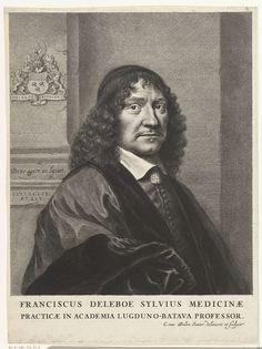 Cornelis van Dalen (II)   Portret van Franciscus de le Boë Sylvius, Cornelis van Dalen (II), 1659   Portret van medicus Franciscus de le Boë Sylvius op 45-jarige leeftijd, borststuk met op achtergrond zijn wapen in reliëf op de muur. Op een richel staat zijn motto Bene agere ac laetari.