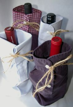 Wine Sleeves made by @1840Farm (a great way to re-purpose old or stained men's shirts!)