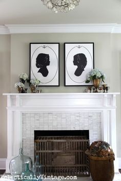 We're absolutely in love with the silhouette wall art personalized at Shutterfly that sits about this mantel. | Make a custom silhouette canvas art eclecticallyvintage.com