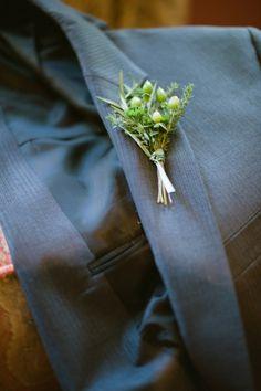 Simple Green Wedding boutineers