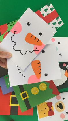 Super Simple Snowman Card Design – Red Ted Art Advertisements Ah nothing quite like a super simple Christmas Card design to make and give! These snowman cards are quick and easy to make, great for bulk card sending or making… Continue Reading → Christmas Card Crafts, Homemade Christmas Cards, Christmas Cards To Make, Holiday Cards, Christmas Decorations, Christmas Card Ideas With Kids, Homemade Cards, Snowman Cards For Kids, Christmas Crafts For Kids To Make At School