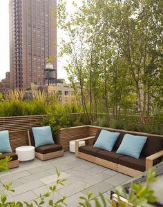 Terrasse Begrünung auch als eine Art Sichtschutz