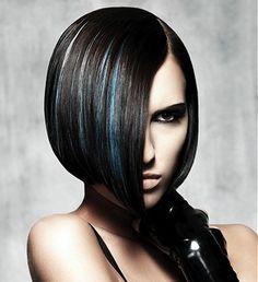 A medium black straight coloured multi-tonal bob Iconic Party hair hairstyle by NHF
