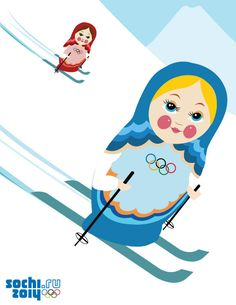 Sochi 2014 skiing matryoshkas. http://bashfuladventurer.com/dont-let-olympics-coverage-deter-you-from-russia/