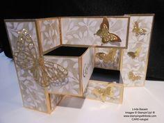 www.stampingwithlinda.com - Creative fold with Golden Glimmer Shutter Card - http://youtu.be/LTiyM8Bqww4