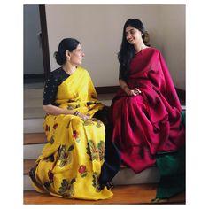 Sarees Tk Adore for it's Simplicity and Elegance:- Wanderlust Fashion Indian Attire, Indian Outfits, Kalamkari Designs, Saree Blouse Neck Designs, Simple Sarees, Stylish Sarees, Elegant Saree, Half Saree, Saree Styles