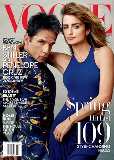 Blue steel is back! Derek Zoolander graces his first ever US Vogue cover on February 2016 issue- alongside Zoolander2 costar Penelope Cruz, one of my beauty icons !!! Photographed by Annie Liebovitz, Makeup by Charlotte Tilbury, Ben Stiller makeup by Bernadette Mazur, styled by @tonnegood.