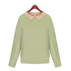 $30.89 Preppy Style Flat Collar Long Sleeve Color Block Hollow Out Women's Sweater