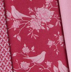 Tilda red pink Scandinavian rose and bird fabric