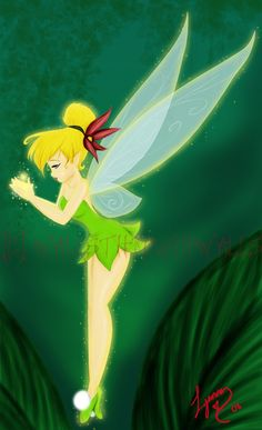 """My aunt had just recovered from surgery and asked me to make a picture of Tinkerbell from Disney& """"Peter Pan"""" for her. Done in colored pencil on blue mounting board and with glitter. Tinkerbell And Friends, Tinkerbell Disney, Peter Pan And Tinkerbell, Peter Pan Disney, Disney Fairies, Alien Drawings, Disney Drawings, Disney Artwork, Disney Dream"""
